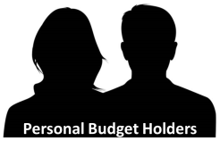 Silhouette of man and woman with Personal Budget Holders in text
