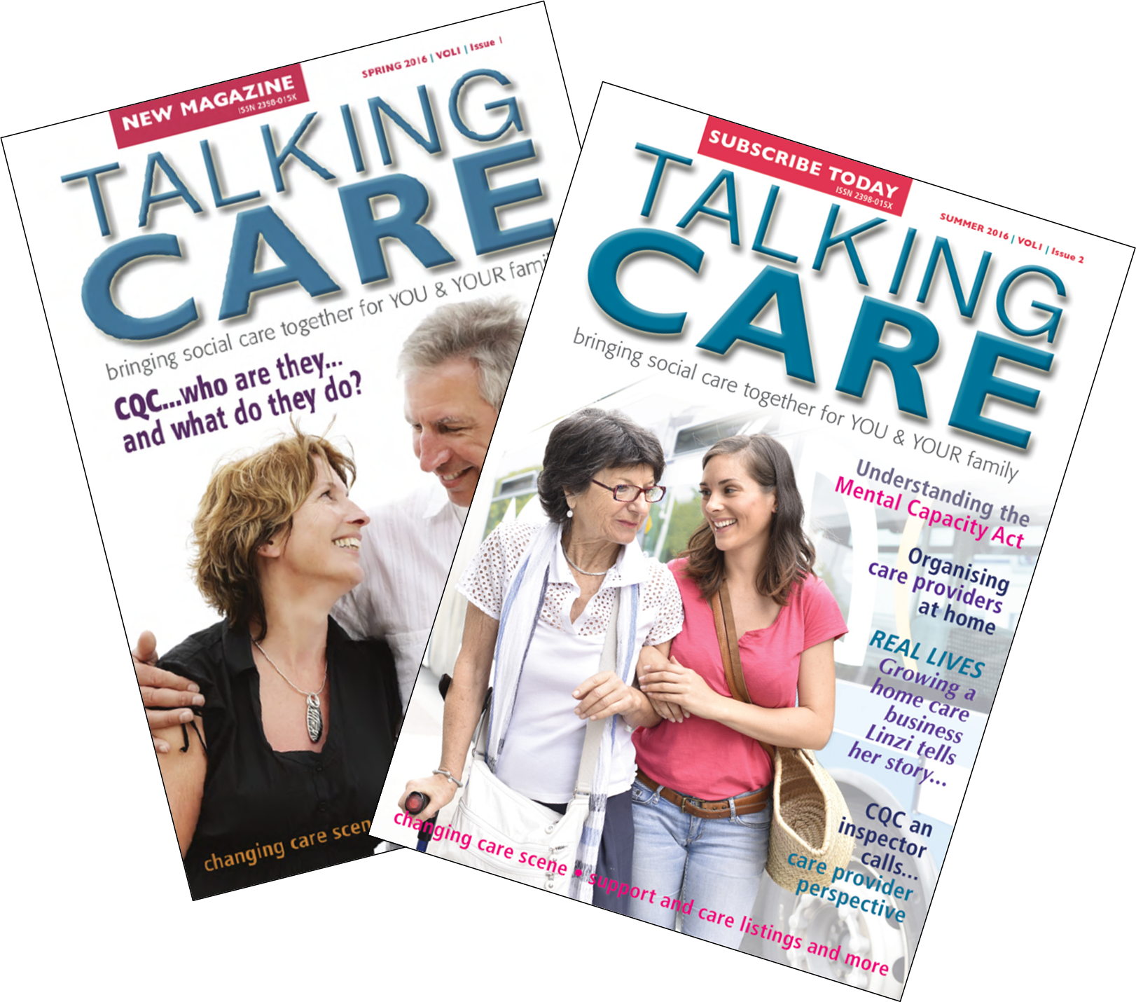 Double image of Talking Care issues 1 & 2