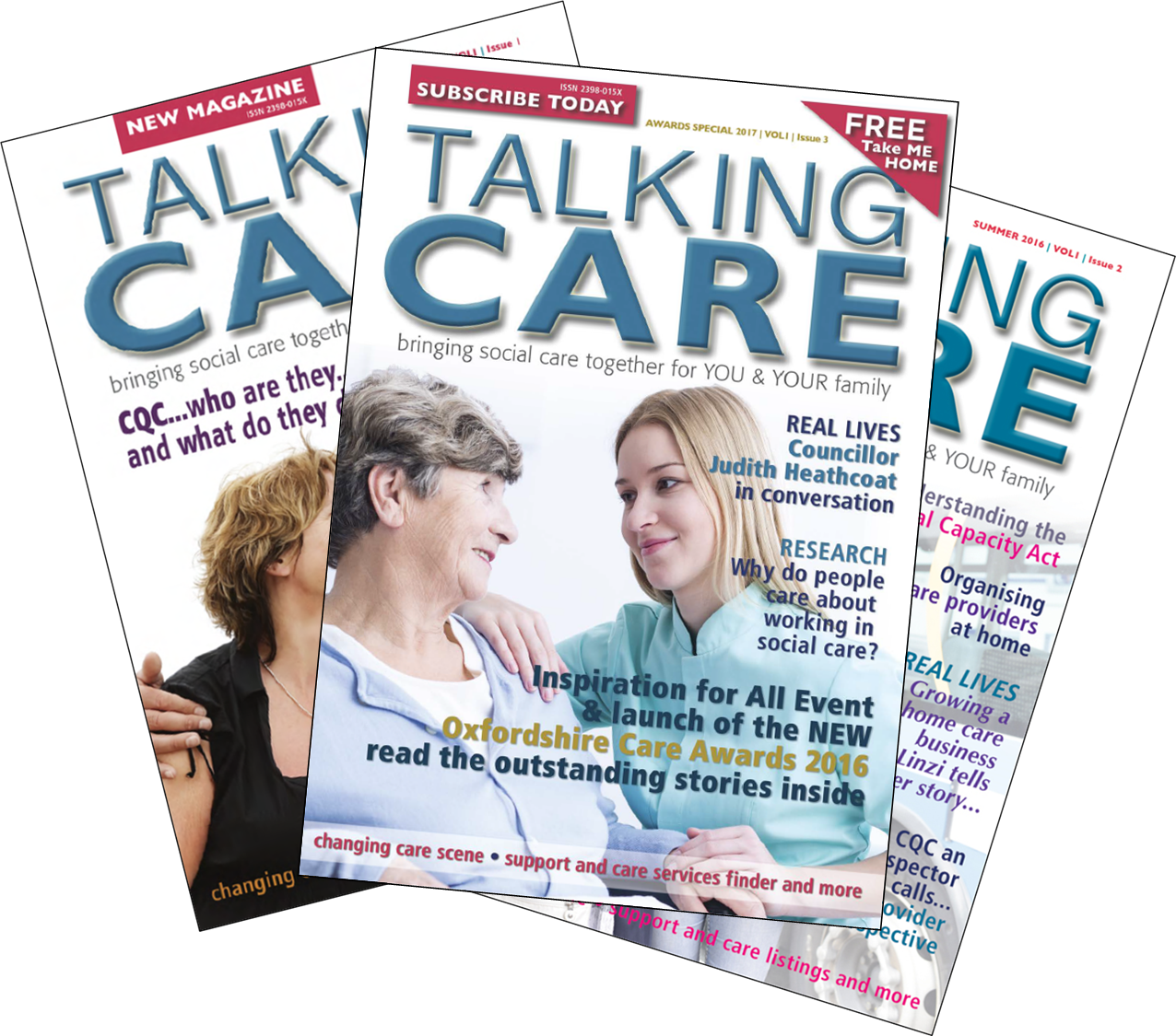 Collated image of Talking Care issues 1, 2 and 3