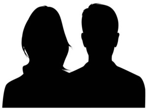 Silhouette of man and woman head and shoulders